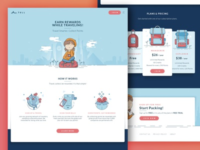 Travel Card Landing Page icons pricing backpack traveling points reward vector illustration landing ui website