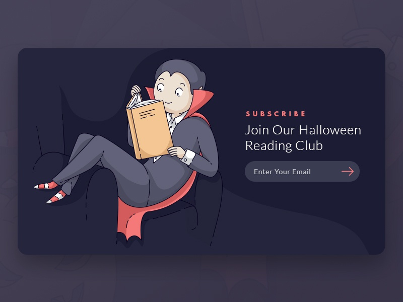 Young Dracula Reading web subscribe newsletter book halloween vector illustration reading ui dark dracula
