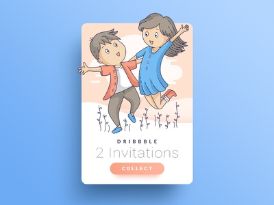 Invitations vector ui invites line art couple card illustration dribbble invitation
