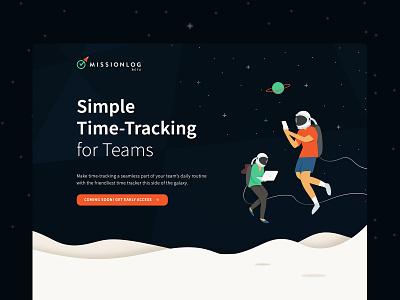 MissionLog website web design time tracking time space ux ui illustration astronaut app design app