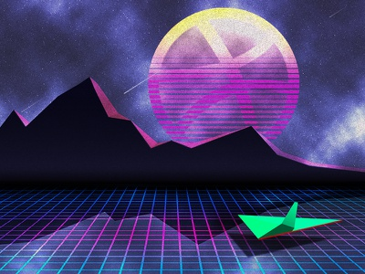 new worlds ahead(space...) neon mountains debut dribbble planets spaceship stars space universe laser 80s