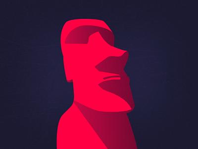 Experimental × Moai illustration exploration easter island texture color illustration statue moai experimental