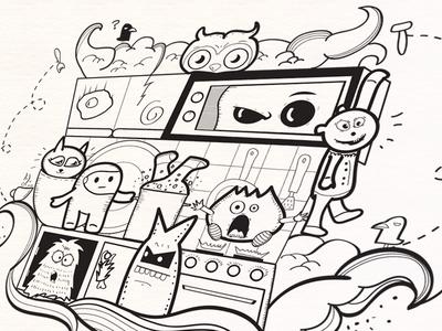 Doodle Concept doodle illustration monsters line drawing art pen