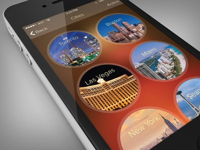 Pick a City UI App Concept ui iphone ios app red brown interface menu mobile location