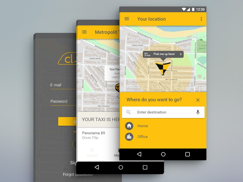 Claxi New UI for Android Phones redesign new taxi app taxi application android mobile app design ui design