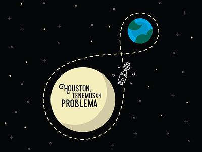 Houston tenemos un problema apollo 13 illustration moon earth houston nasa space science
