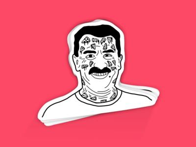 Pizza Sick illustrator sticker vinny stickermule doodle tatoo sick pizza