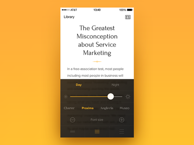 Reader settings flat simple font blur black typography yellow ios app settings reader