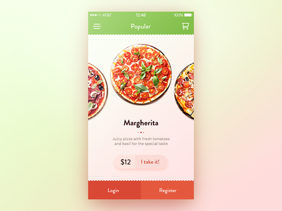 Choose a pizza app ios pizza select slider round food warm shop