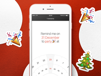 Promo material for Rememo christmas new year ux ui interface clean simple app ios rememo material promotional