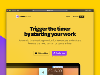 New Klokki Website webflow mac macos flat clean simple app typogaphy yellow site website