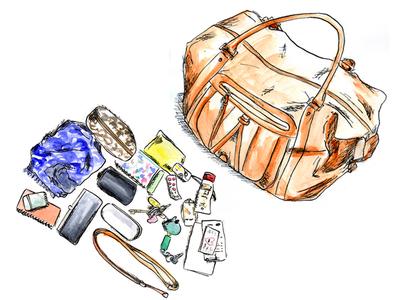 La main dans le sac illustration handbag hand inside outside