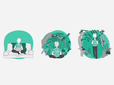 A journey in the Rainforest website rainforest persona userjourney illustration