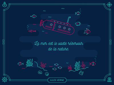 Under water verne illustration submarine under the sea