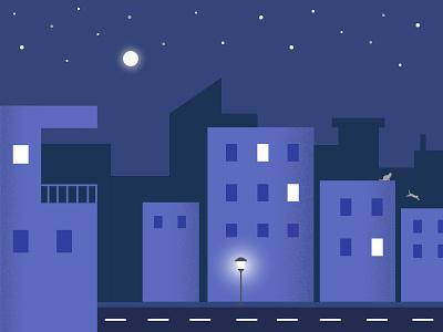 Night Scene silhoutte salt pepper material material design illustrator illustrations night