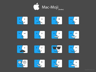 Macmoji - 3 Strokes outlined icons stroke icons mac icons mac emoji finder finder icon mac emoji macintosh