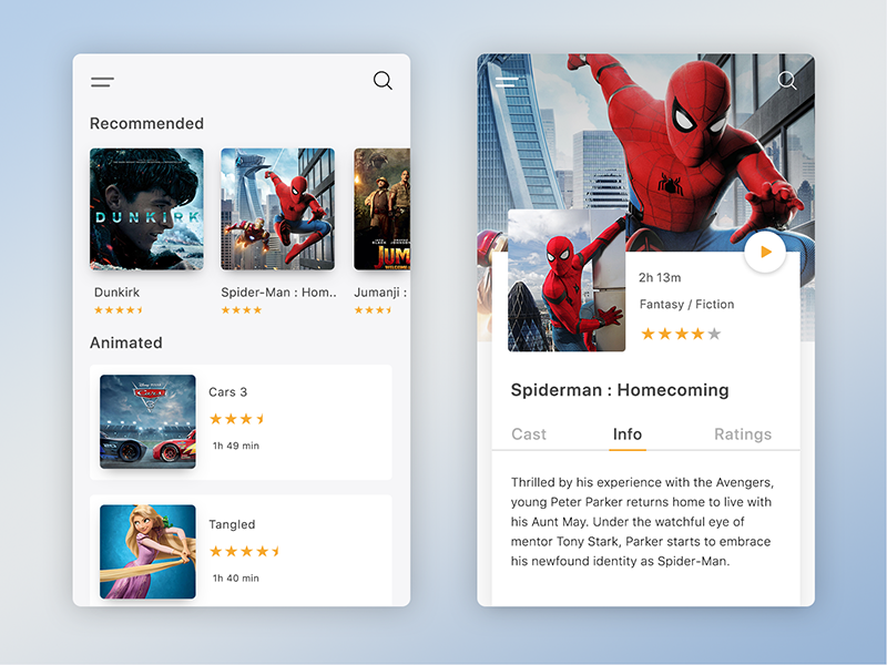 Daily UI 7/7 - Movie App UI card ui cards movie ui design gradient ui gradient movie ui movie app daily ui