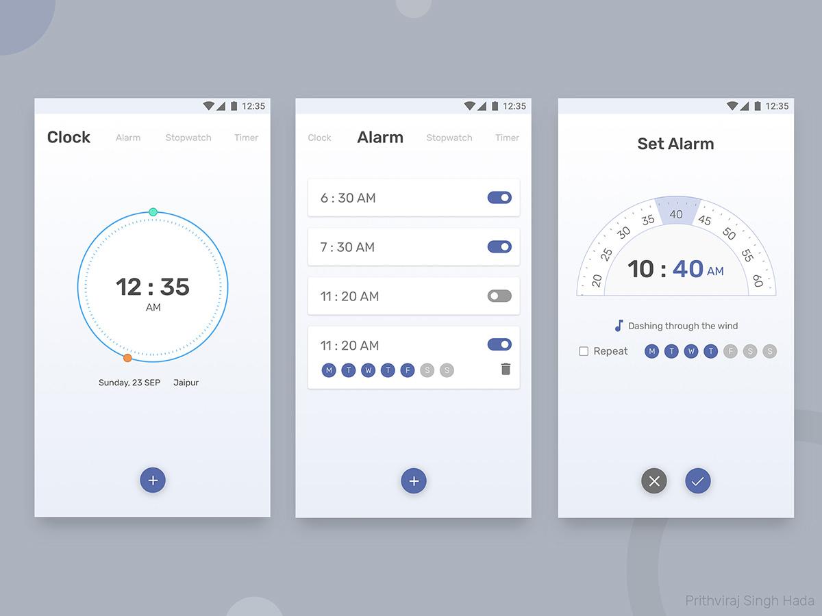 Clock App Concept set alarm alarm stopwatch timer android ui freebie free clock ui clock app