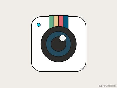 Retro instagram icon iconography colors retro icon camera instagram flat