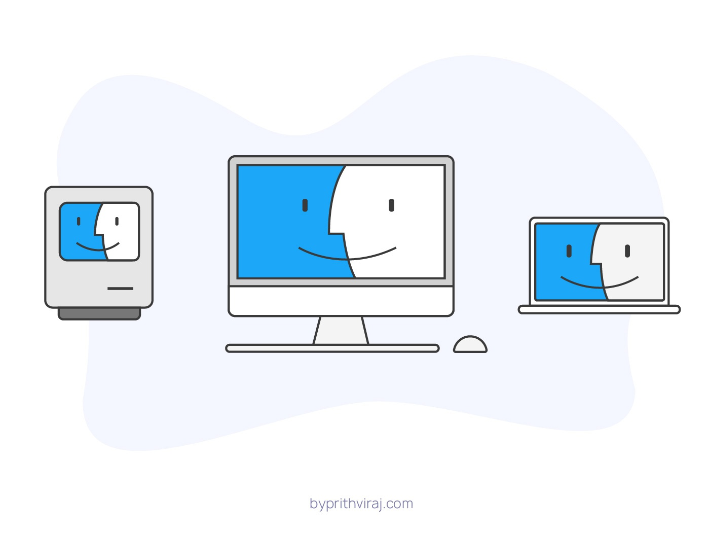 3 Macskeeteers vector outline icons stroke icons apple macbook pro macbook imac macintosh finder mac and cheese design illustration mac