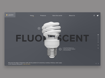Fluorescent bulb website concept ui design ui ux ui lamp design slider hero slider web design website