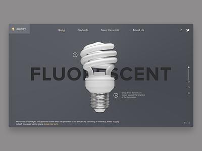 Fluorescent bulb website concept ui design ui ux ui lamp design slider hero slider web design website