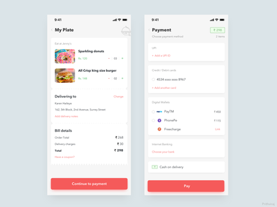 Food ordering UI exploration checkout charges ux bill home delivery delivery order restaurant payment cart exploration ui food
