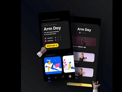 Fitness mobile app dark theme homescreen design challenge pilates yoga workout double shots ux ui mobile app health gym fitness