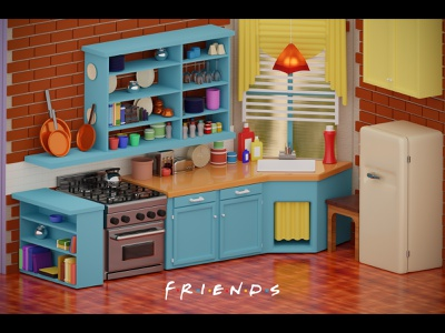 Friends cycles isometric memory cute 2d friends kitchen animation design illustration blender lowpoly 3dillustration 3d