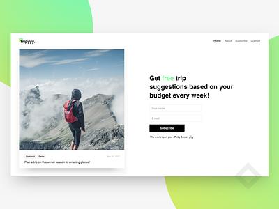 Trippy ! Landing page minimal webdesign landing webpage plan budget trip