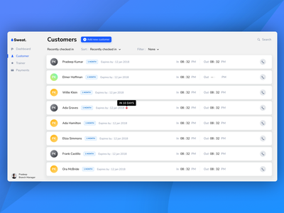 Fitness! trainers payments manage time dashboard customer fitness