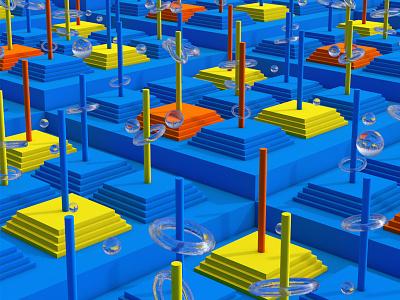 Playground digital colors infinite geometry minimal simple abstract 3d art 3d render digital art c4d playground