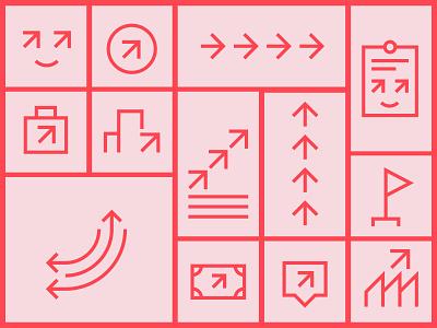 Mois de l'économie sociale - Icons cooperative coop obnl ngo building economy business iconographic icon set arrow ui branding icon design icons iconography