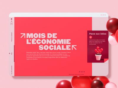 Mois de l'économie sociale - Web cooperative coop website design ui design colorful red minimal quebec social economy social ngo economy business web design components ux ui web
