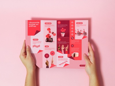 Mois de l'économie sociale - Brochure colorful red cooperative coop ngo quebec social numbers brochure model business month economy print design print