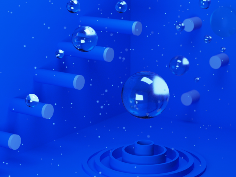 Playground - Jump cylinder glass bubbles design minimal shapes geometry abstract illustration cinema4d c4d 3d 3d art plaground