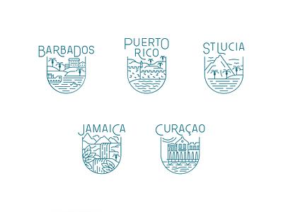 Hilton Caribbean trophy caribbean island tropical branding design vector illustration icons minimal identity ui