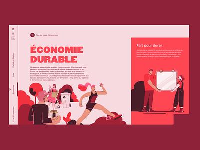Social economy month icons identity vector typography minimal editorial website builder webdesign illustration horizontal scroll website