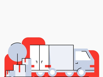 Moving Waldo - Illustrations simple gray lines strokes illustration document paper red tree lamp sofa move building box truck moving waldo