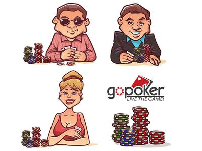 GoPoker Character animation vector cartoon character ui ux motion poker illustration invitations dribbble invite graphic design