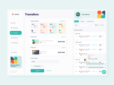 Banking platform: dashboard incomes expences bank branding transactions figma finance credit card web ux ui design app