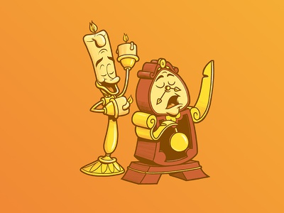 Cogsworth & Lumiere graphic design design character art illustration art beauty and the beast