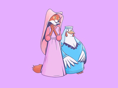 Maid Marion & Lady Cluck maid marion robinhood character art illustration design art disney disney art