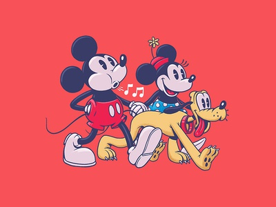 Mickey & Minnie character design illustration design art disney art disney minnie mickey pluto minnie mouse mickey mouse