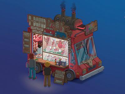 Fantasy Food Truck No. 1: T-Boned disney art photoshop steak food truck food illustration design art