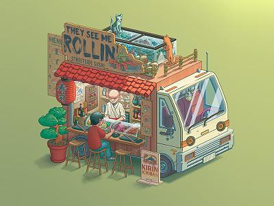 Fantasy Food Truck No. 2: They See Me Rollin' sushi digitalart photoshop illustration design art food truck