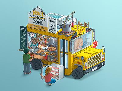 Fantasy Food Truck No. 3: Drool Zone illustration food truck digitalart photoshop cafeteria school bus school design art food food trucks