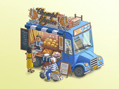 "Fantasy Food Truck No. 4: ""Chomps"" Elysees bread cafe french digital art photoshop illustration design art food food truck"