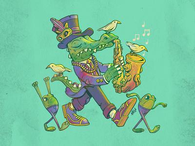 The Grand Caiman character design mardi gras frog louisiana new orleans swamp crocodile photoshop illustration design art
