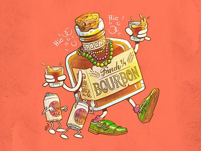 Monsieur Hiccups mardi gras beer whisky drunk drinking alcohol photoshop character design bourbon louisiana new orleans illustration design art